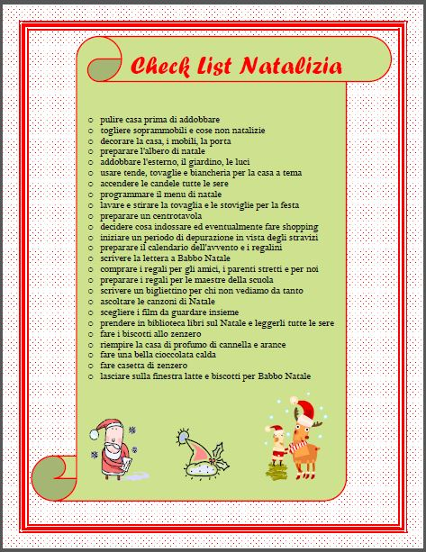 Check list natalizia