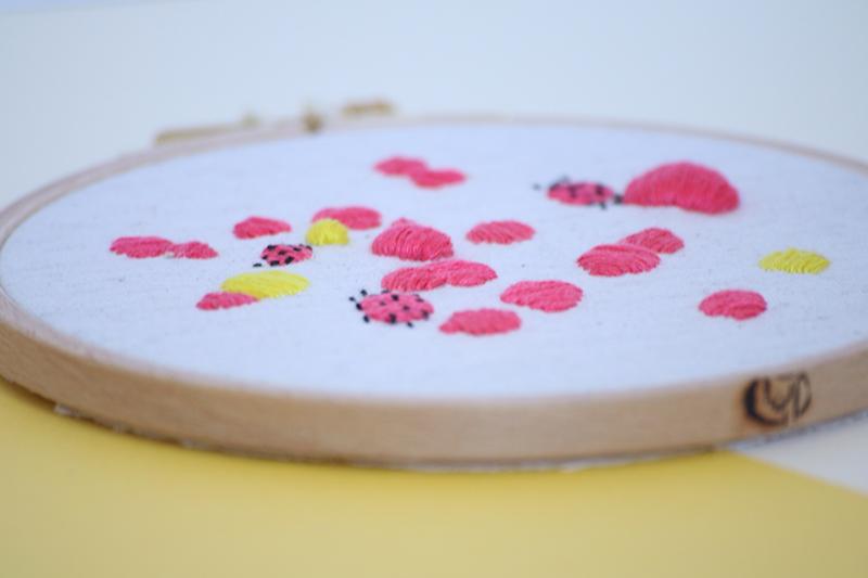 Vue de côté du cadre décoratif Jane, broderie réalisée à la main, en France, sur du tissu upcyclé. Joli motif abstrait aux tons rose vif, jaune et noir, certaines parties de la broderie sont en volume.