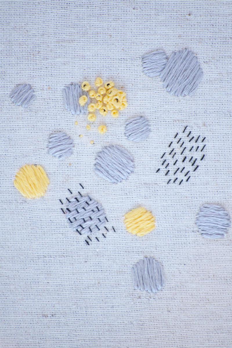 Détail du cadre décoratif Grace, broderie réalisée à la main, en France, sur du tissu upcyclé.