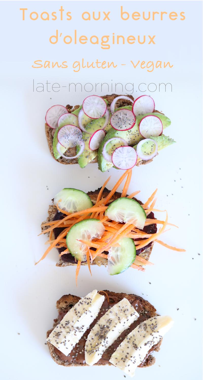 Voici la recette de toasts aux beurres d'oléagineux, vegan et sans gluten dont vous trouverez la recette sur mon blog.
