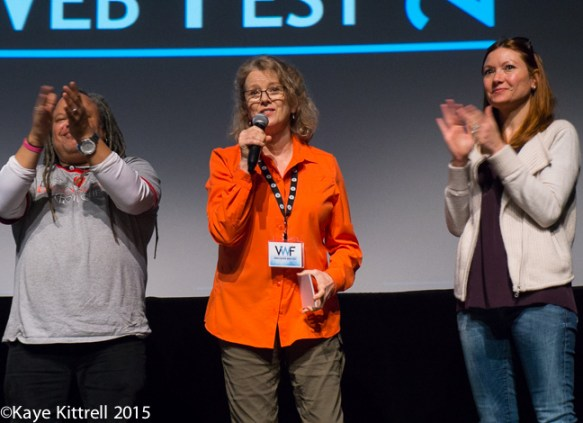 Late Bloomer Show at the Vancouver Web Fest - Kaye at mic