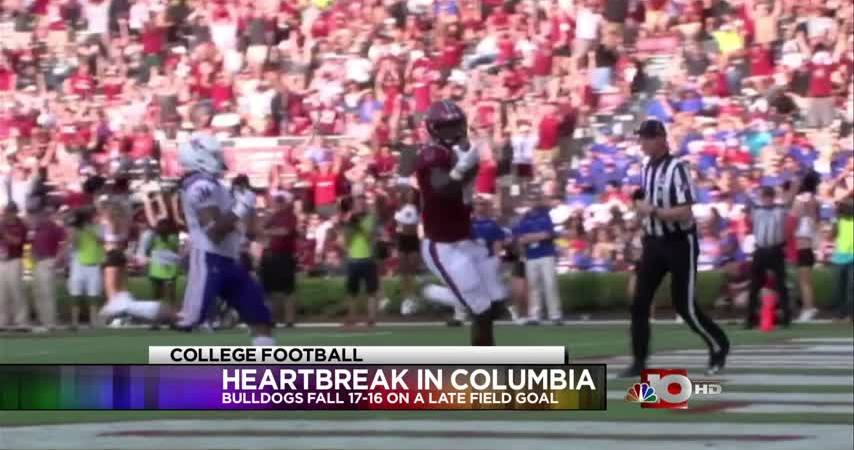 Bulldogs cut down on turnovers, still come up short against South Carolina