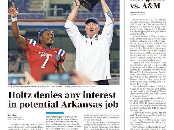 La. Tech's Skip Holtz denies interest in potential Arkansas job