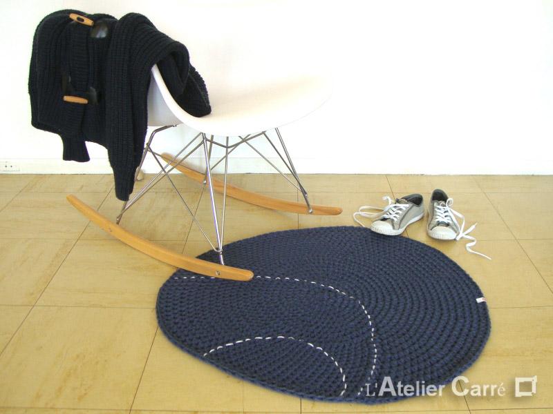 tapis en laine forme galet couleurs et tailles au choix