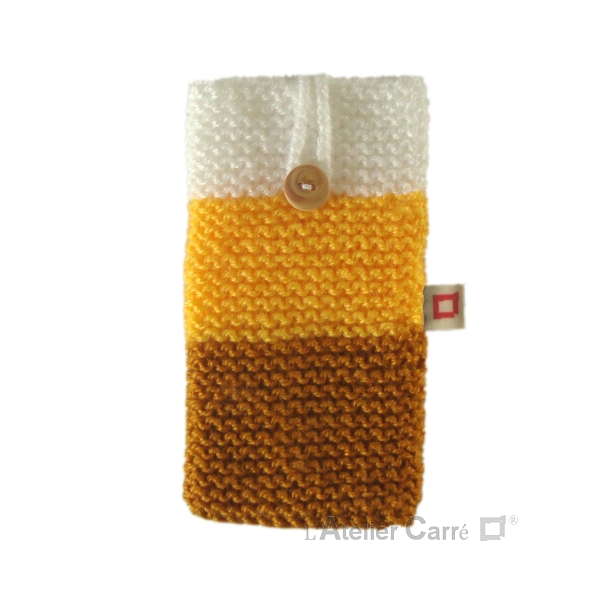 Housse pour smartphone en laine tricolore jaune