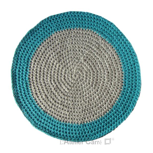 tapis rond crochete epais bicolore