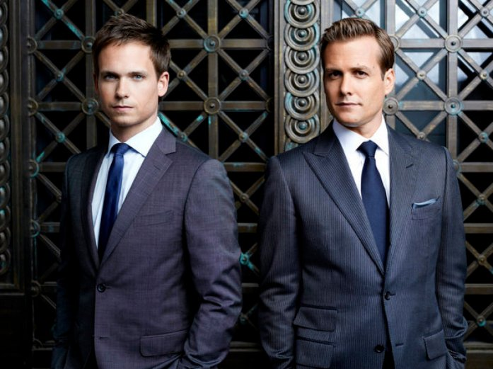 SUITS -- Season: 2 -- Pictured: (l-r) Patrick J. Adams as Mike Ross, Gabriel Macht as Harvey Specter -- Photo by: Robert Ascroft/USA Network