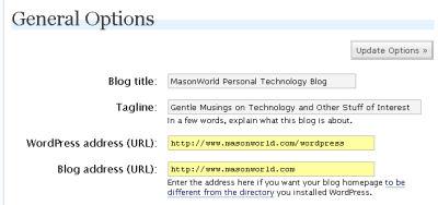 blog directory configuration