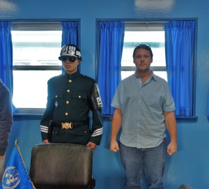 Not as convincing a stance but I am standing North of this soldier, fully in the DPRK!
