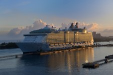 Oasis of the Sea, in Nassau, early morning. It is reported to be the largest cruise ship in the world, registered with Royal Caribbean.
