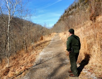 Scott Teodorki looking at Cumberland Gap from a vantage point on the old Wilderness Trail.
