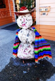 Owners of a Mexican restaurant made and dressed this snowman in front of their business