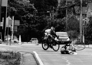 A bicycle criterium offering another image of risk as loss or injury.