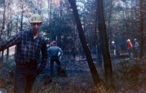 A snapshot from 1964 of classmates working in the woods. Courtesy of Al Reiner '64