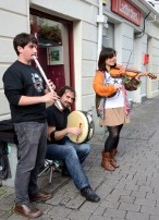 Musicians in shopping district of Galway.
