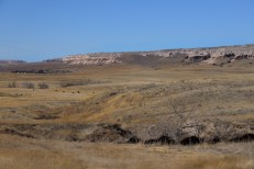 A ranch in Wyoming with bluffs as a backdrop.