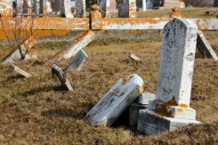 Frost heave and maybe neglect take a toll in a cemetery in Lubec.