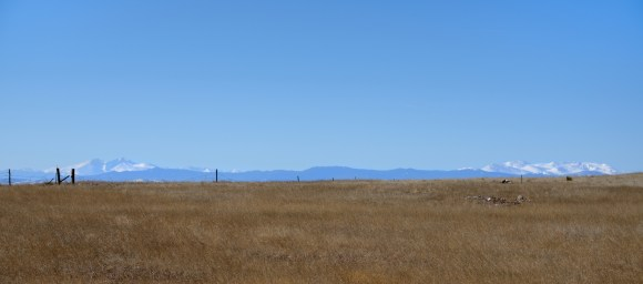 Colorado high plains, with Rockies on the horizon.