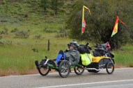 Bicycle touring is a major activity now, and this man, who is in his later years, looks as if he's never heard the idea of traveling light. Phono in the Pacific Northwest.