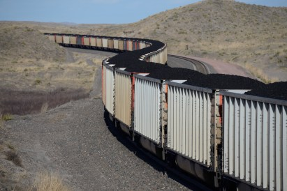 Coal energy is important but declining in several western states. Here a train hauls coal out of eastern Wyoming coal country.