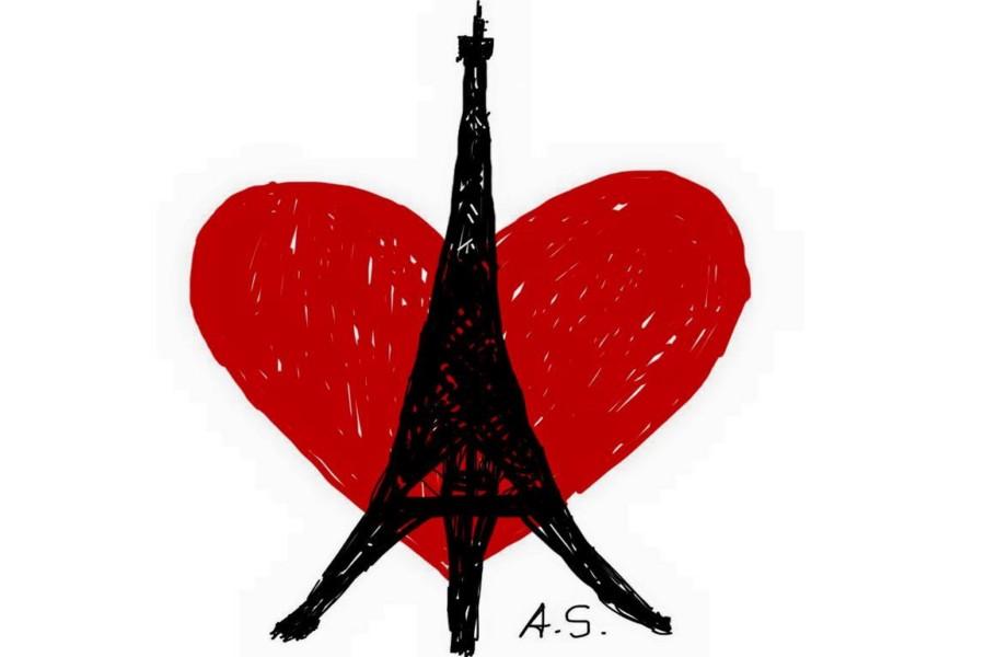 dessin d'arnold schwarzenegger avec un coeur sur la tour eiffel