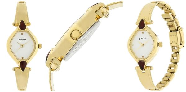 White Dial Stainless Strap Watch for Women