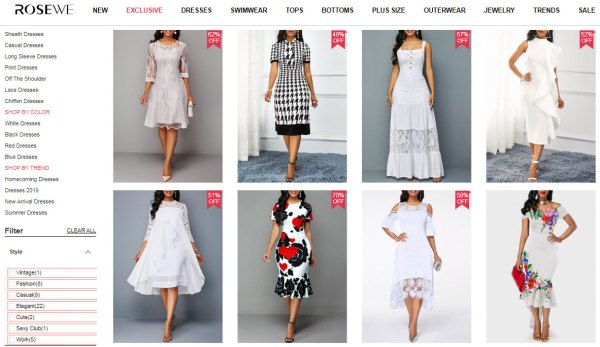 rosewe white dresses discount code