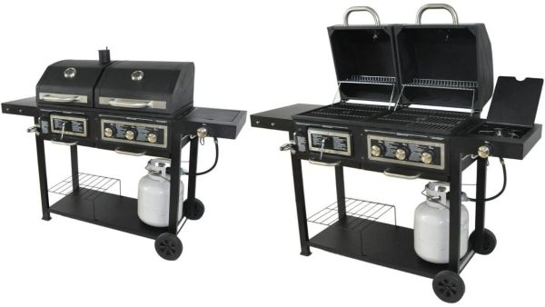 BLOSSOMZ Dual Fuel Combination Charcoal_Gas Grill