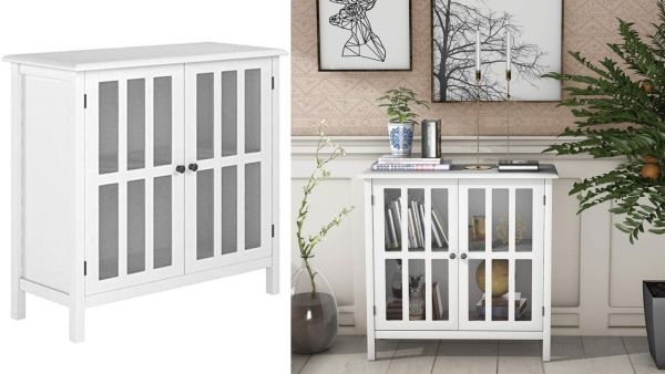 Tangkula Console Cabinet Storage White Glass Door Sideboard.