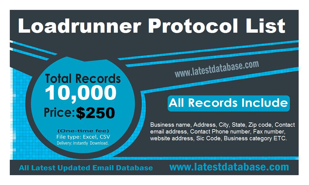 Loadrunner protokolu saraksts