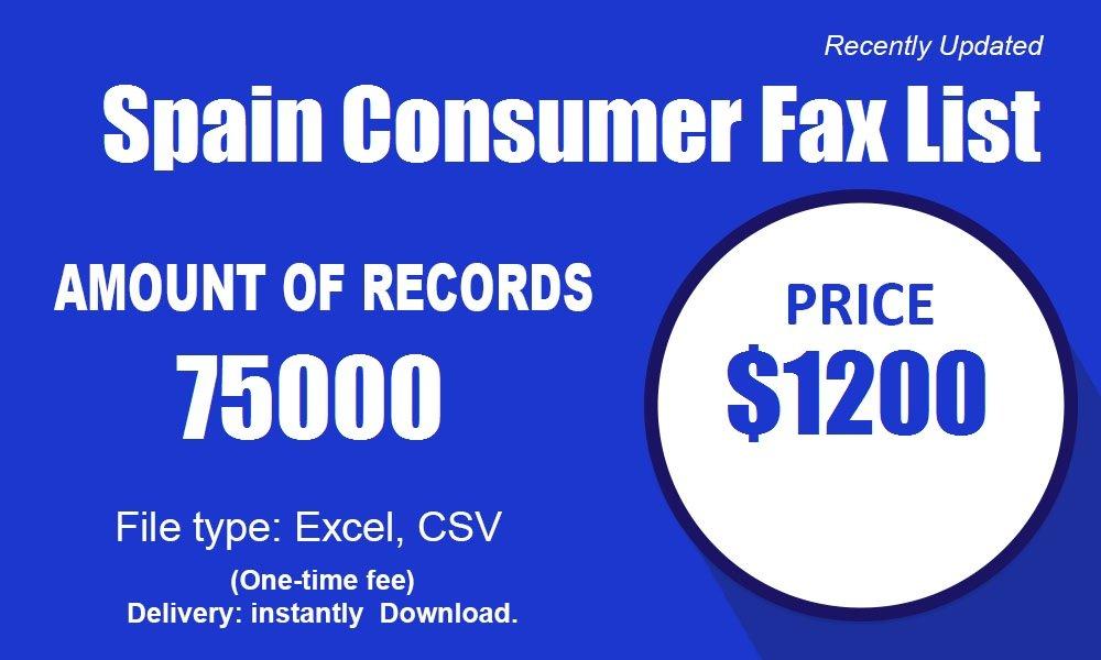 Lista di Fax di Spagna di u Consumatore