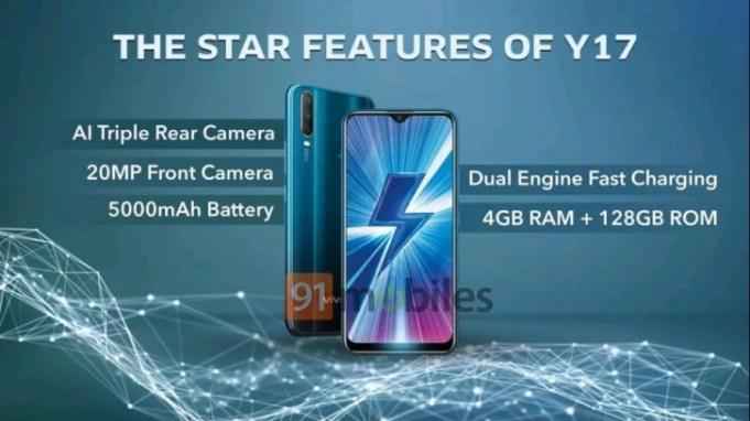 Vivo Y17 with 4GB RAM, 128GB internal storage, 20MP selfie camera, 5000mAh battery