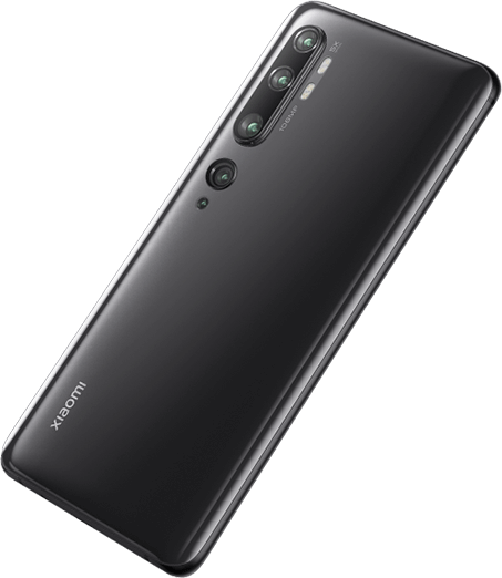 Xiaomi Mi Note 10 black color back view and the price in Nigeria