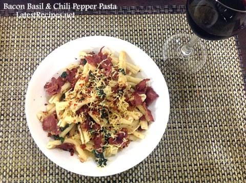 bacon-basil-chili-pepper-pasta