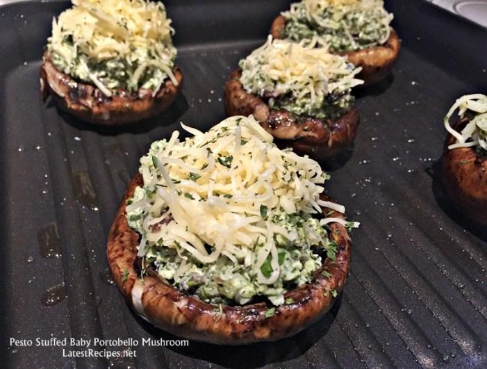 Grilled pesto-stuffed portobello Mushroom