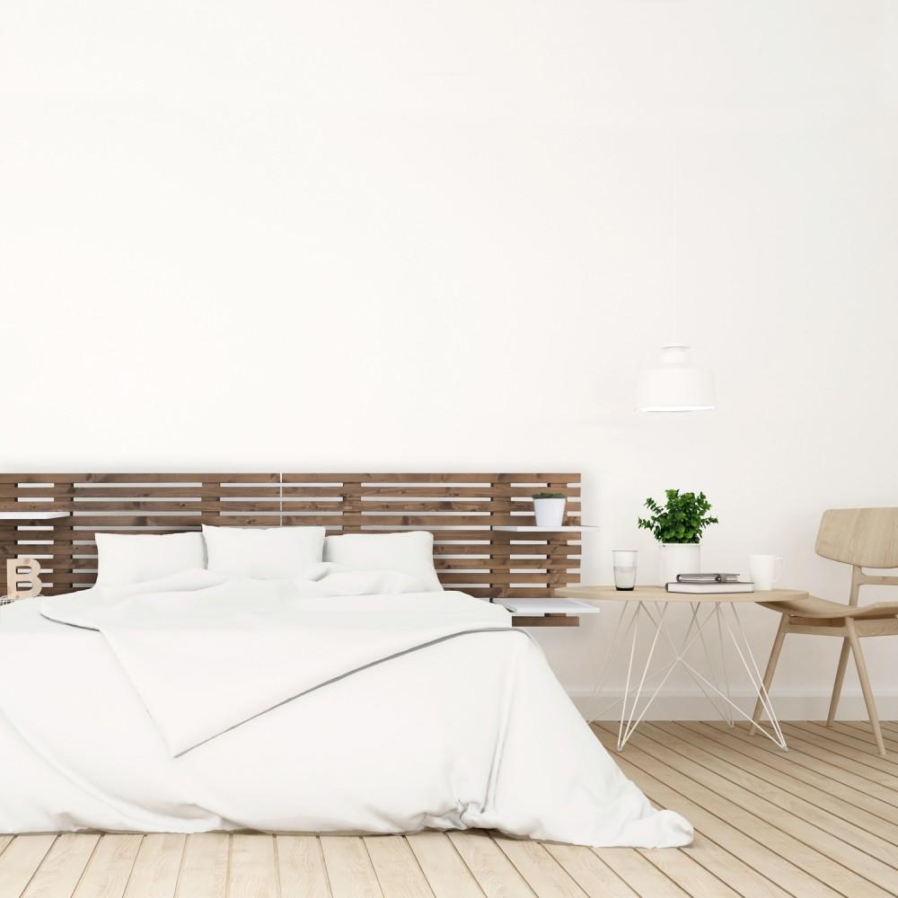 de lit nordique en bois effet vieilli