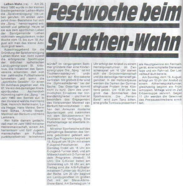 Festwoche in Lathen-Wahn