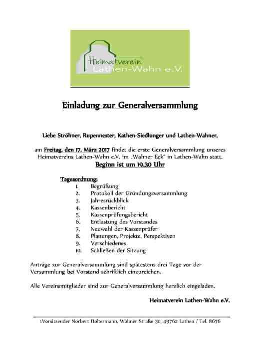 Einladung Generalversammlung Heimatverein Lathen-Wahn 2017