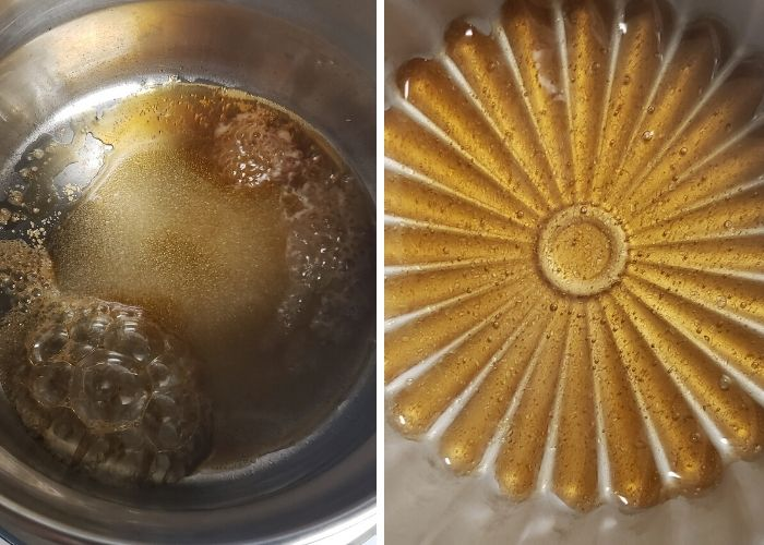 Step wise pictures to make caramel.
