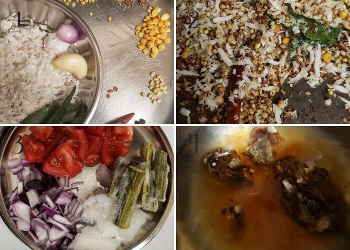 Step wise pictures to make KErala style sambar with coconut.