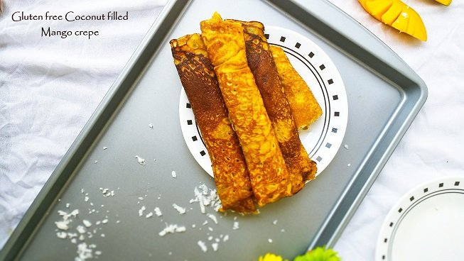 Gluten free Coconut filled Mango Crepes