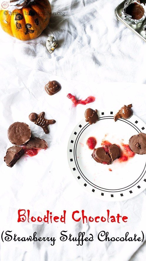 Strawberry jam filled Chocolate,Halloween treat,Kids,Chocolate,Strawberry,Easy,Vegan,Vegetarian