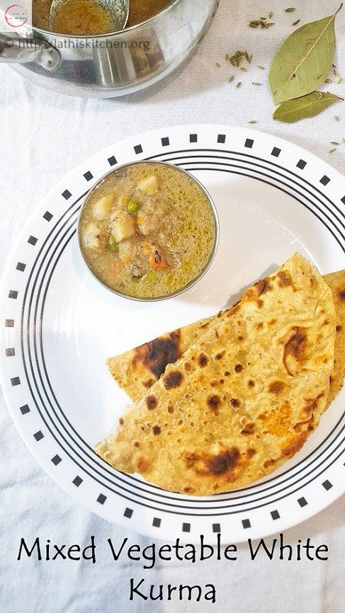 Mixed Vegetable White Curry,Vegetarian,Indian,Side dish for roti,Curry,Kurma