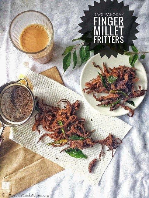 Ragi Pakoda.Ragi,Fritters,Easy,Frying,Snack,Tea time,Ragi