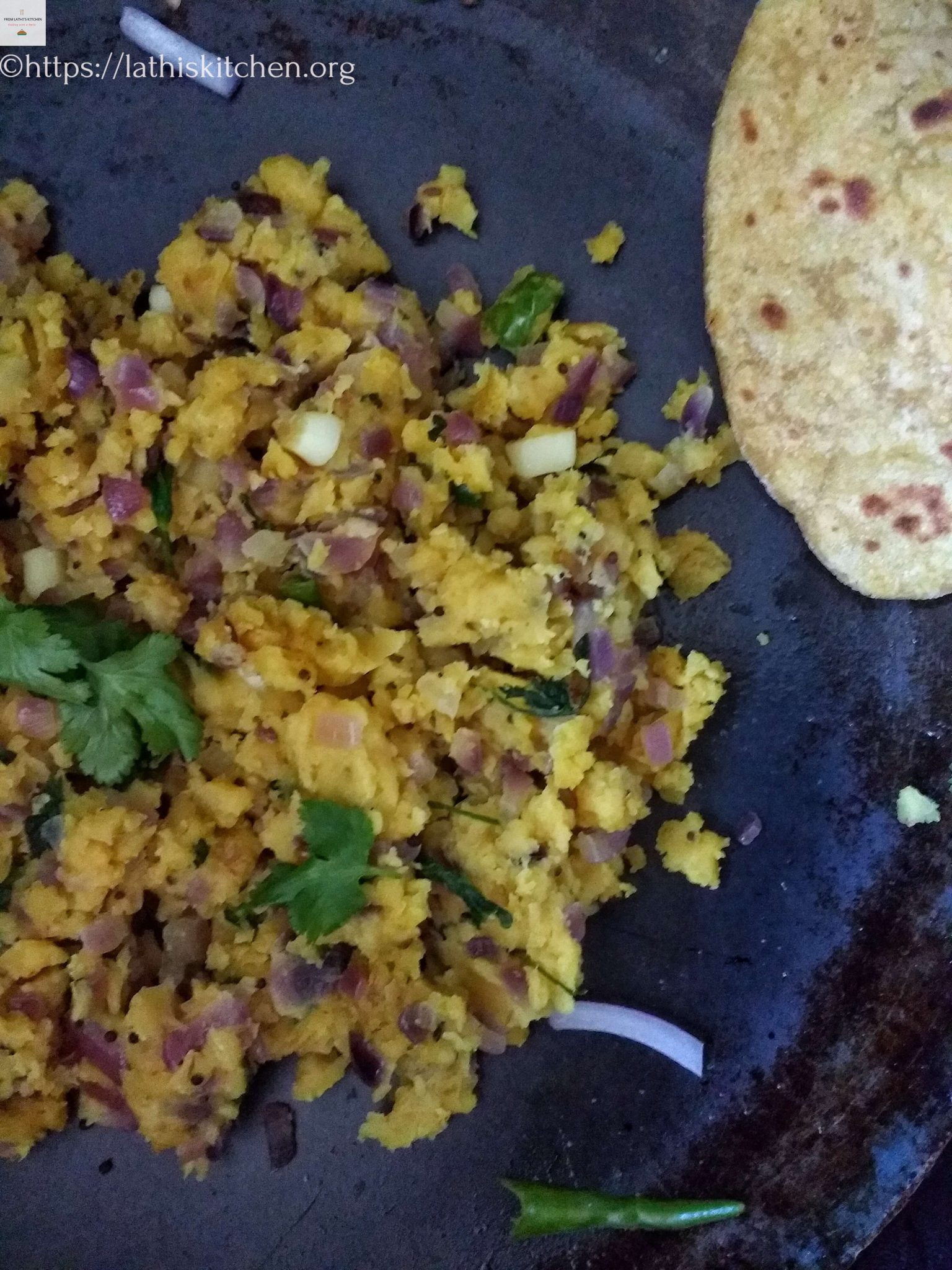 Zunka,Indian,Side dish,Maharashtra,Roti,besan,Vegetarian,Easy