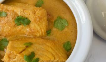 Bowl of Kerala fish curry.