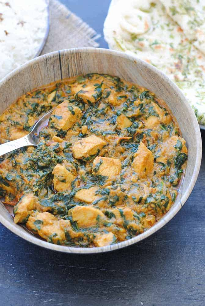 Bowl of Palak Chicken.