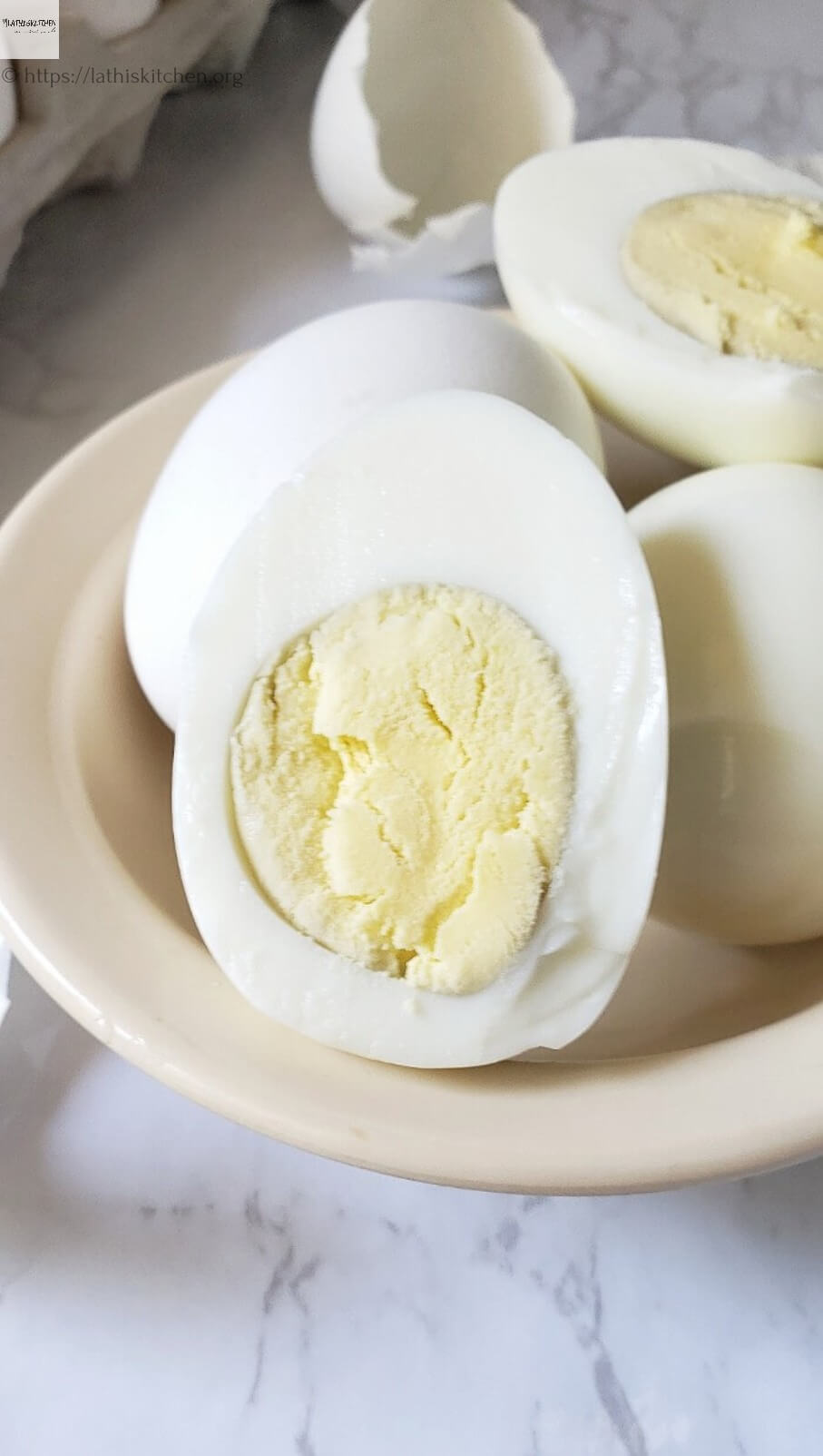 Half cut hard boiled egg.