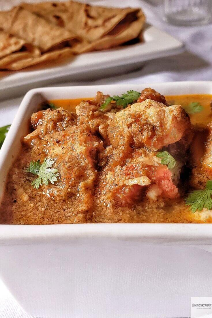 Bowl of Chettinad Chicken Curry.