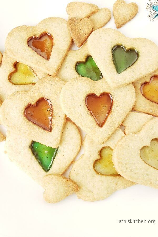 Plate with stained glass cookies.